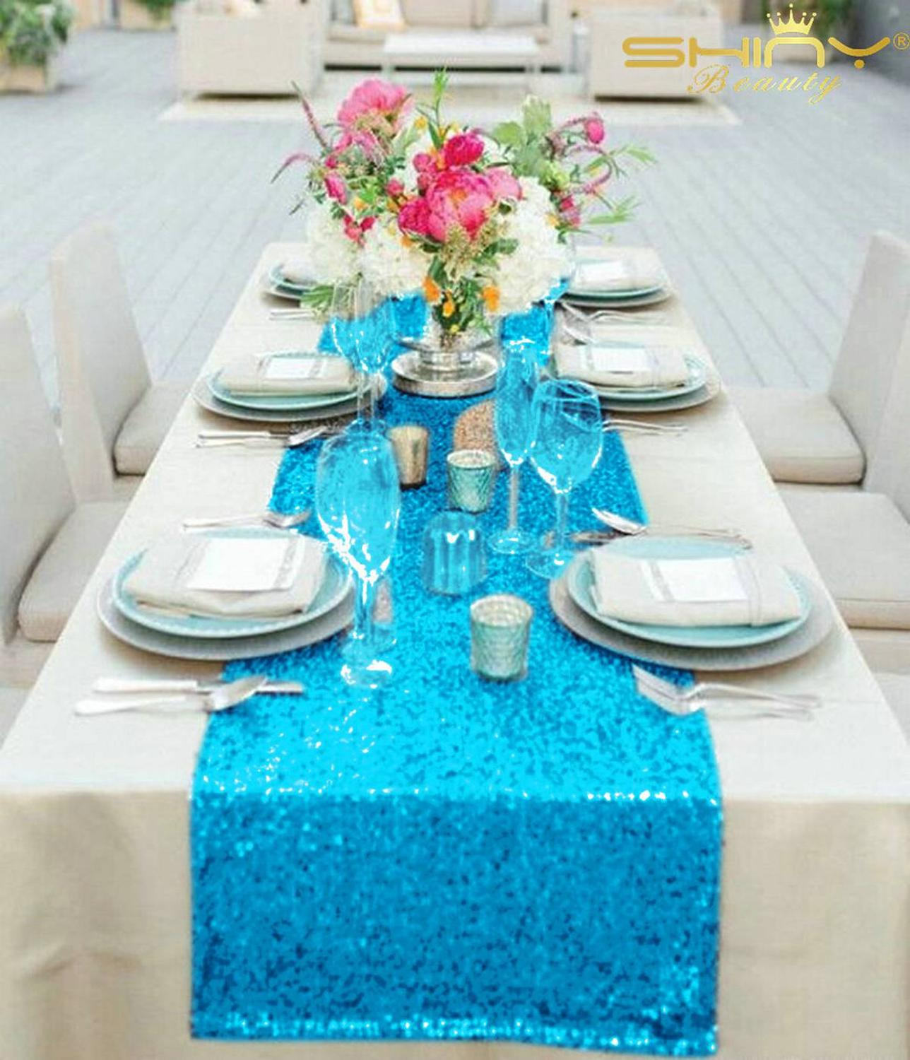 12x72-Inch Table Runner Turquoise Sequin Table Runners Elegant Table Decoration For Wedding Party-M1012