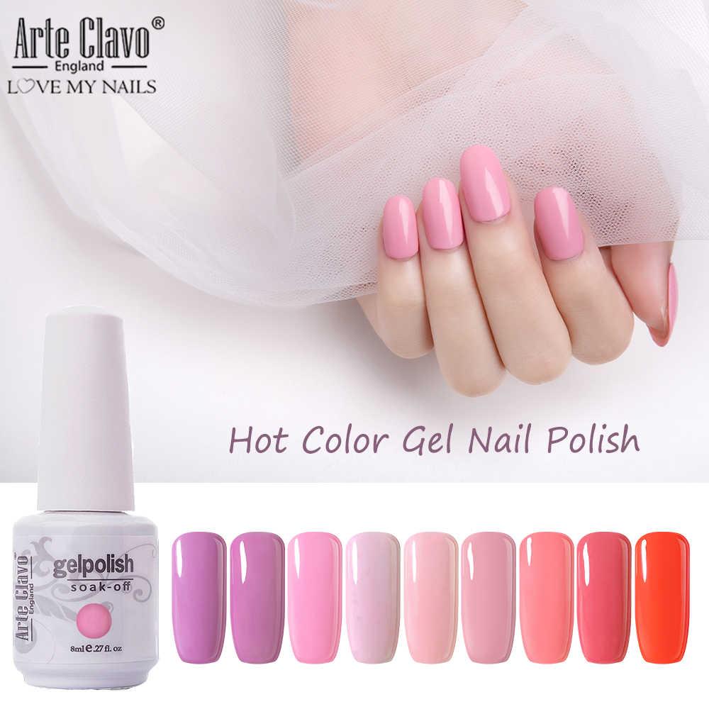 Arte Clavo Gel 8ml Largo Esmalte De Uñas Duradero Color Rosa