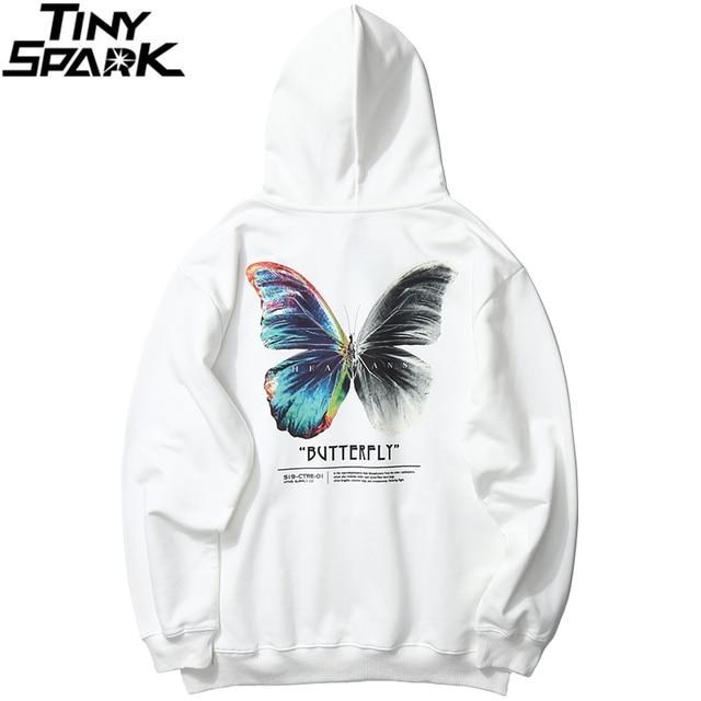 2020 Men Hip Hop Sweatshirt Hoodie Color Butterfly Streetwear Harajuku Pullover Hoodie Cotton Fleece Winter Autumn Black Hoodie 3