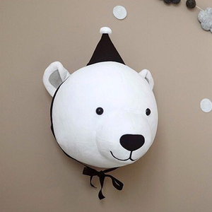 Image 5 - ベビー保育園ルームのインテリア3Dクリスマス動物ヘッド壁の装飾子供のための女の子のベッドルームのソフトインストール装飾