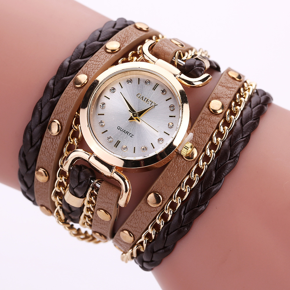 Womens Bracelet Watch Relojes Mujer 2019 Vintage Weave Wrap Quartz PU Leather Wrist Watches Clock Relogio Feminino