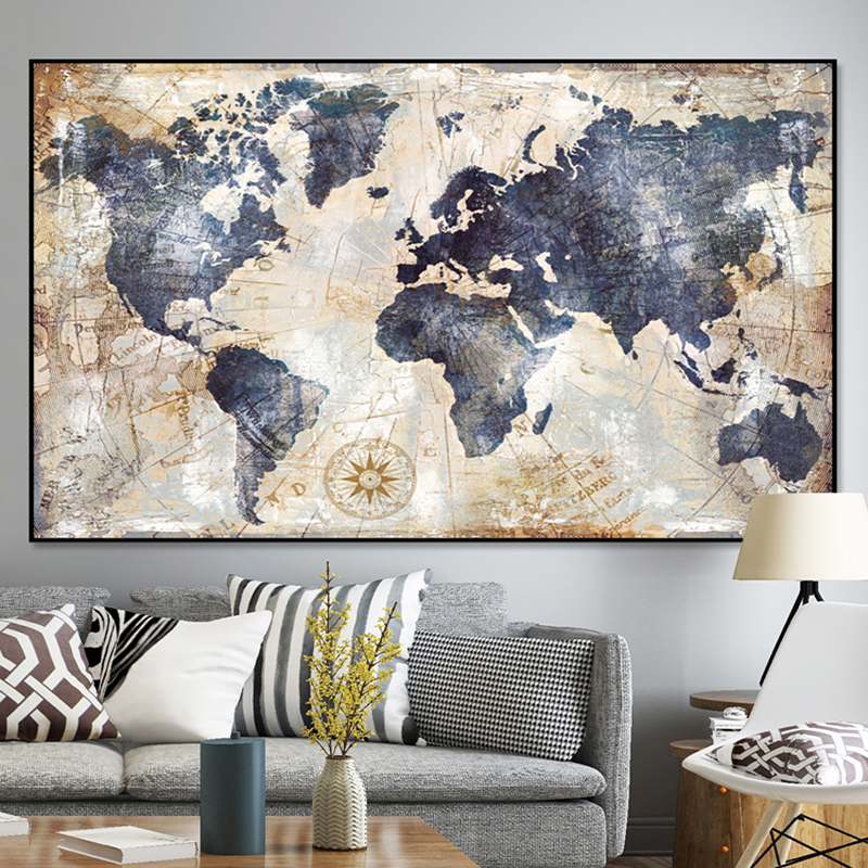 Vintage World Map Canvas Painting Printing Poster Wall Pictures For Living Room Modern Nordic Map Pictures Decoration Art