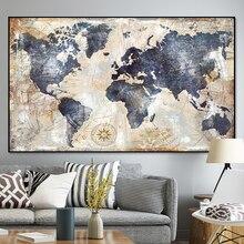 Vintage mapa del mundo lienzo pintura impresión póster cuadros de pared para sala de estar moderno mapa nórdico cuadros decoración arte
