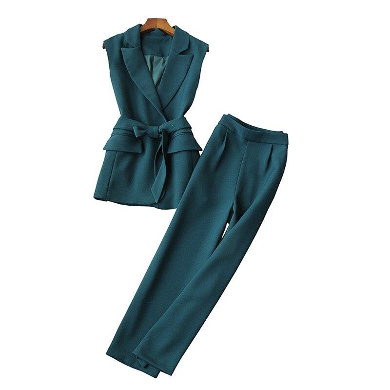 Autumn New Professional Women's Suit Pants Set High Quality Fashion Slim Sleeveless Vest Suit Casual Wide-leg Pants Two-piece