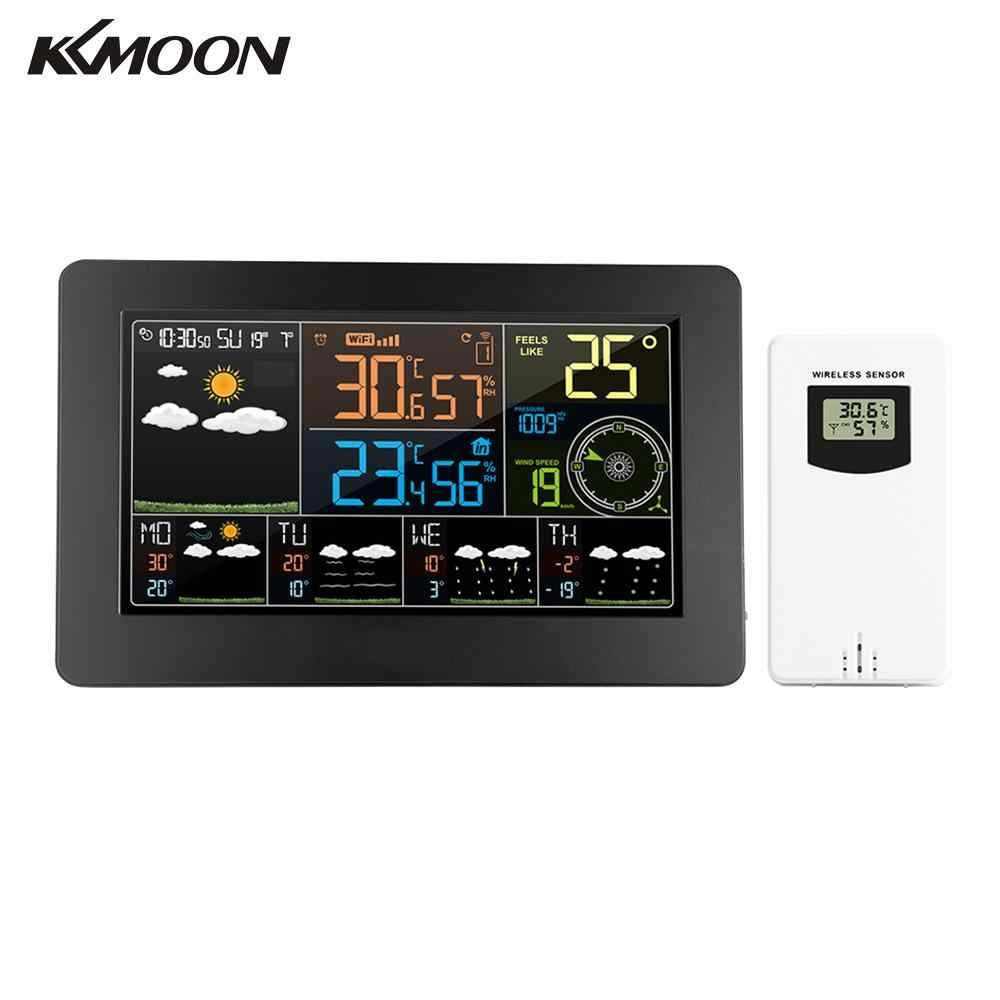 KKMOON Multifunktionale Farbe WiFi Wetter Station Monitor APP Steuerung Smart Digitale Indoor Outdoor Thermometer Hygrometer