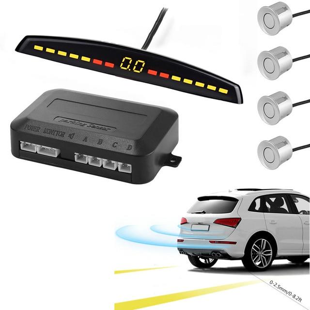 YASOKRO רכב חניה חיישן אוטומטי Parktronic LED תצוגה הפוך גיבוי רכב חניה רדאר צג גלאי מערכת עם 4 חיישנים