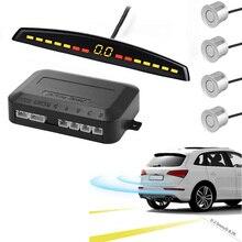 YASOKRO Sensor de aparcamiento para coches, pantalla LED de estacionamiento automático, sistema de detección monitorizado con Radar con 4 sensores