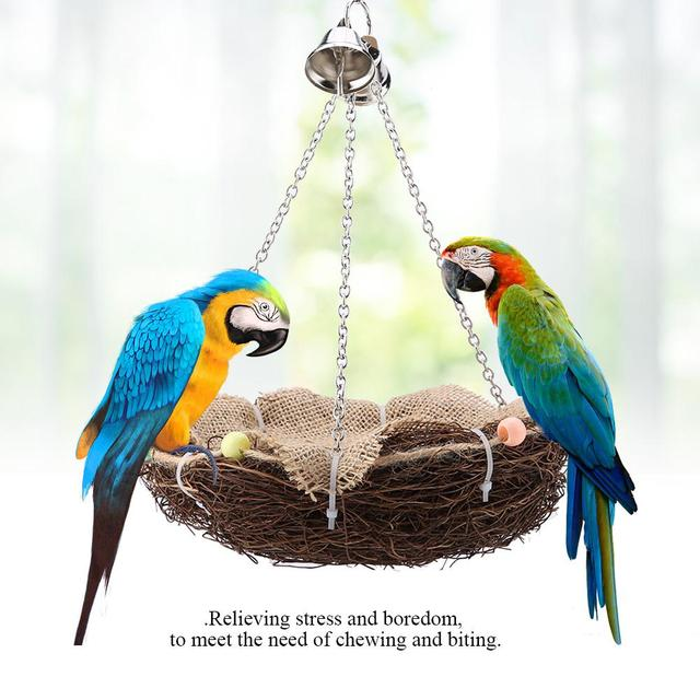 Parrot Hanging Rest Nest Basket Cage Birds Toy With Bell Bite Pet Cockatiel Parakeet Funny Stand Rest Perch Swing 5