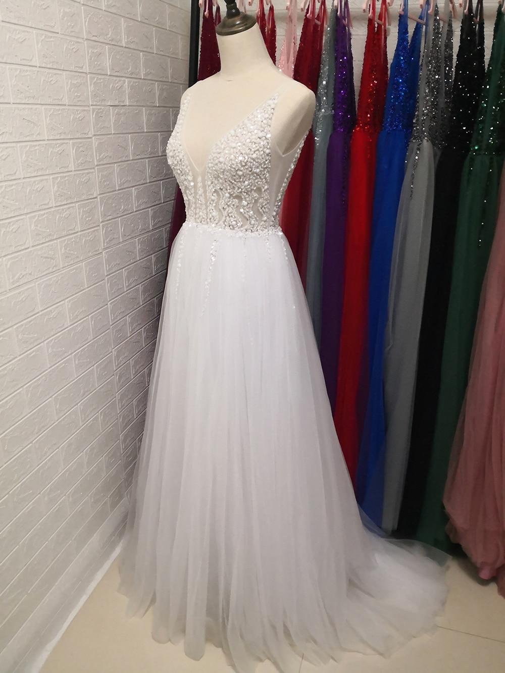 Сексуальное длинное вечернее платье с глубоким v-образным вырезом и разрезом сбоку, Новое поступление года, блестящее платье с высоким разрезом и открытой спиной, Abendkleider Lang - Цвет: Белый