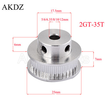 35 Teeth 2GT Timing Pulley Bore 5/6/6.35/7/8/10/12mm for GT2 Open Synchronous belt width 6/10mm small backlash 35Teeth 35T image