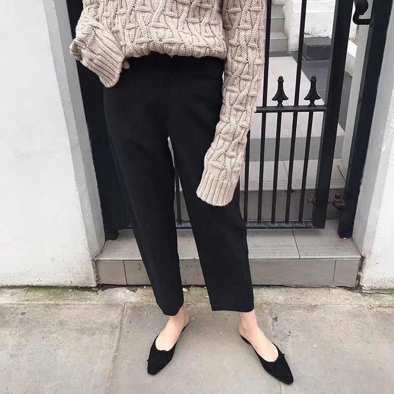Women Pants Nordic Style Designer Silhouette High Waist Curved Design Casual Twill Trousers Streetwear