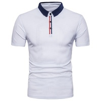 ZOGAA, деловая Мужская рубашка поло, брендовая одежда, летняя, с коротким рукавом, из кусков, поло Para, мужская, с отворотом, тонкая, хлопковая, По...