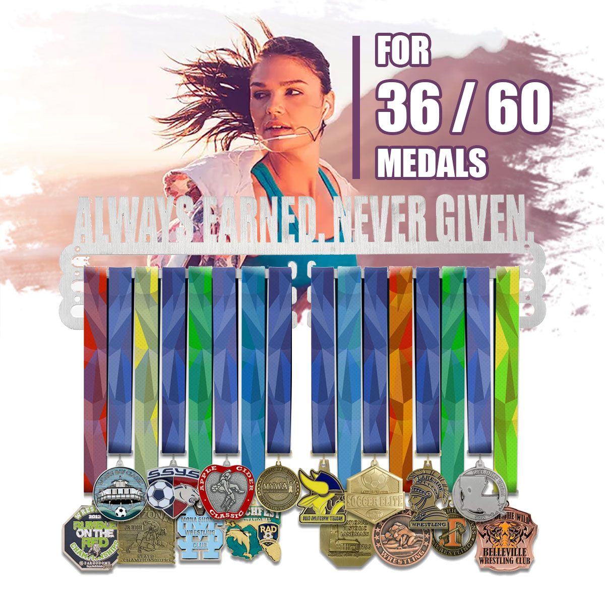 60/36 Medals Universal Medal Hanger Display Rack Holder Stainless Steel Wire Medals Hanger Triple Bar Sport Running Swimming Gym