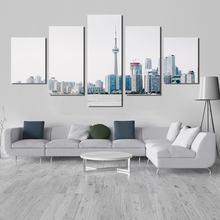 5 панелей холст абстрактная стена белый городской пейзаж живопись