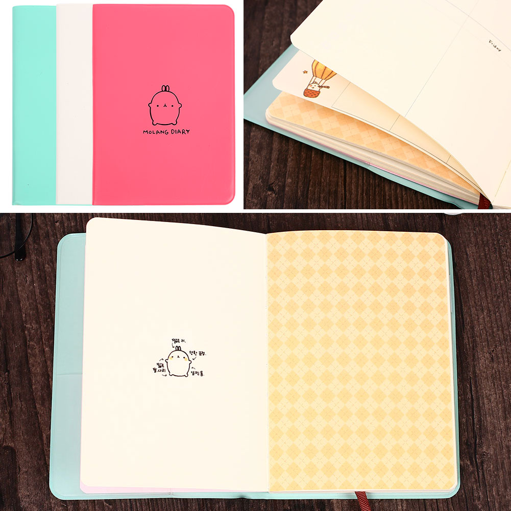 Pocket Diary Agenda Notebook Planner Journal Paper Memo Scheduler Planner Student Cute Molang Rabbit Portable Office Book