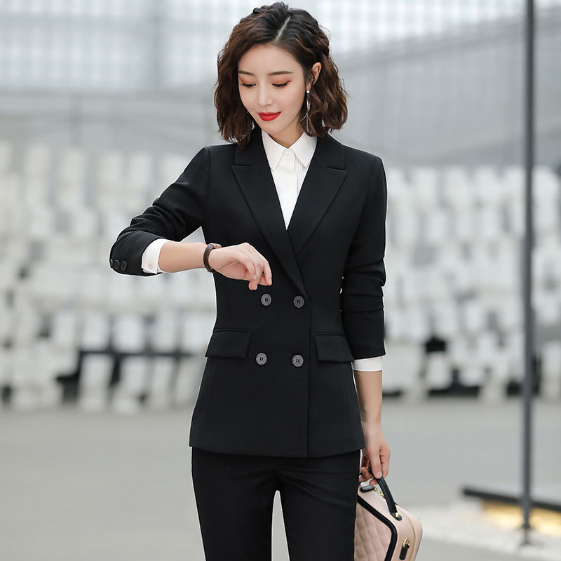 Casual Long-sleeved Professional Pants Suit High Quality 2019 New Slim Waist Double-breasted Black Blazer Office Suit Two-piece