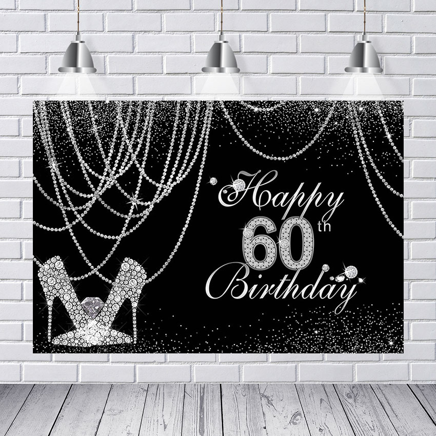 Glitter Sliver <font><b>60th</b></font> <font><b>Birthday</b></font> Party Decoration <font><b>Backdrop</b></font> for Photography Happy <font><b>Birthday</b></font> Background for Photo Studio Photocall Prop image