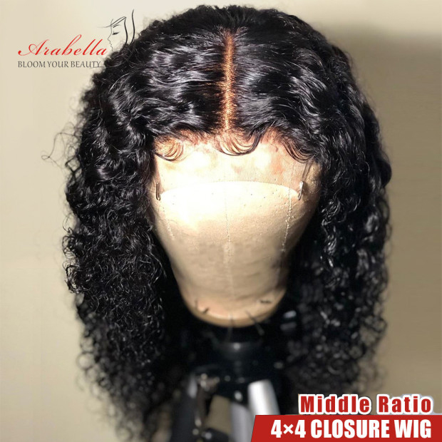 Brazilian Water Wave Wig 100% Human Hair Wigs With Baby Hair PrePlucked Arabella Remy Hair 30 Inch 180% Density Lace Closure Wig