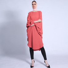 Tops Bat-Sleeved Fashion Long Modest Hollow-Cut-Design Stitching-Colored F2914 Female