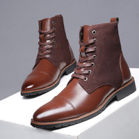 Boots New 2019 Winter Men Snow Boots Warm Plush Ankle Boots for Men Pointed Chelsea Boots High Quality Pu Leather Men Work Boots