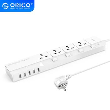 ORICO OSJ-4A5U-UK Home Office UK Surge Protector With 5 USB Charger 4 UK AC Plug Multi-Outlet Travel Power Strips 5 Feet - White