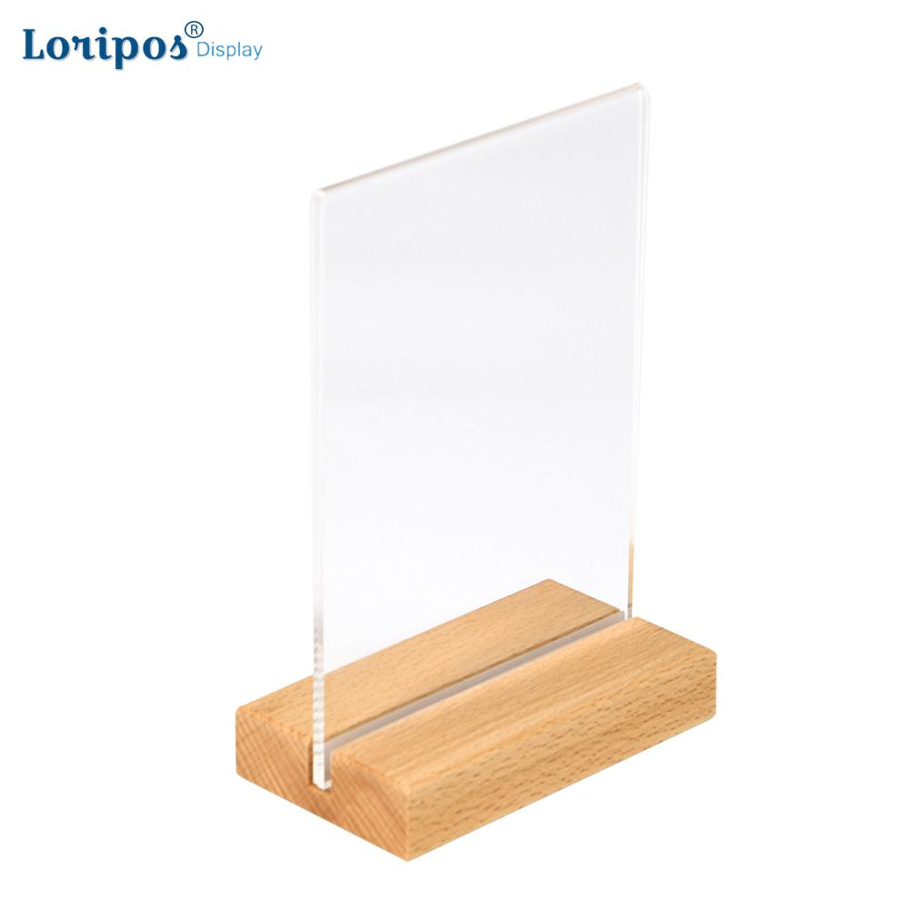 A6 A5 A4 Solid Wood Base Acrylic Sign Holder Double Sided POS Retail Frame Counter Top Poster Information Or Menu Holder