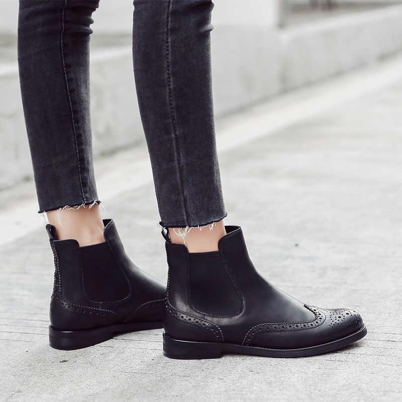 Donna-in Frauen Echtes Leder Stiefel Brogue Geschnitzte Stiefeletten Mode Chelsea Low Heels Damen Booties Herbst 2019 Damen schuhe