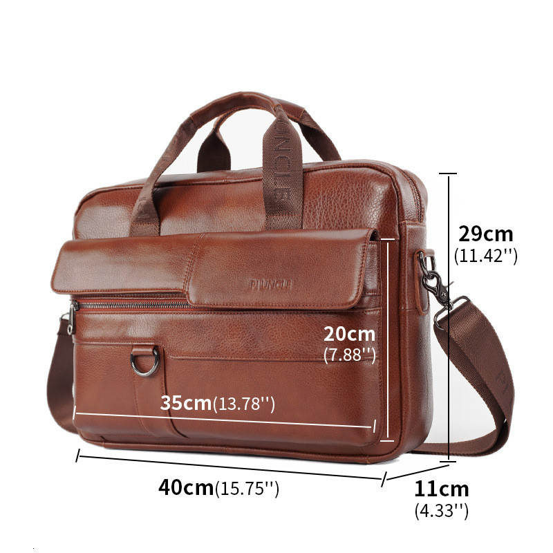 New Men Briefcases Genuine Leather Handbag Vintage Laptop Briefcase Male Computer Shoulder Bags Men's Bag Bolso Bandolera Hombre