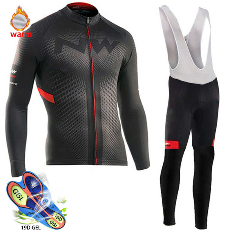 2020 Pro Team Winter Thermal Fleece Cycling Clothes Northwave Long Sleeve Jersey Suit Outdoor Bike MTB Clothing Bib Pants Set