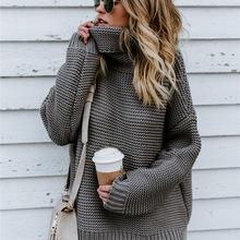 Winter Sweater Women Pullover Turtleneck Knitted Sweater Long Sleeve XL Plus Siz
