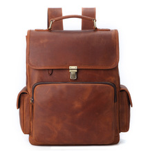 100% Cow Genuine Leather Men Backpacks Real Natural Leather Student Backpack Boy Luxury Bra