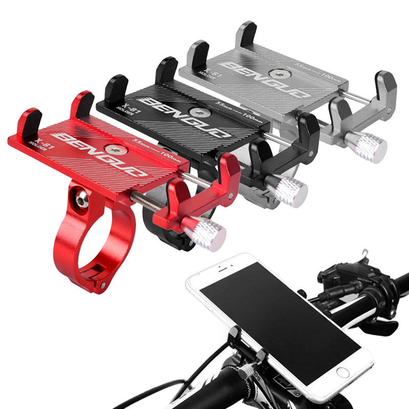 Aluminum Bicycle Phone Holder Anti-shake Smartphone Adjustable Support Outdoor Bike Phone Holder Support GPS Navigation Holder