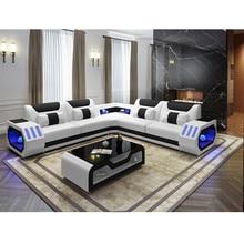 L форма Горячая современный диван из натуральной кожи