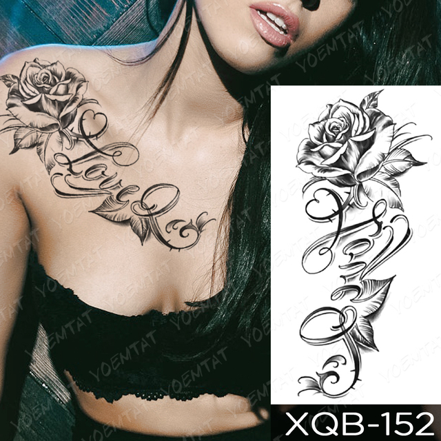 Waterproof Temporary Tattoo Sticker I Love You Flash Tattoos Lip Print Butterfly Flowers Body Art Arm Fake Sleeve Tatoo Women 2