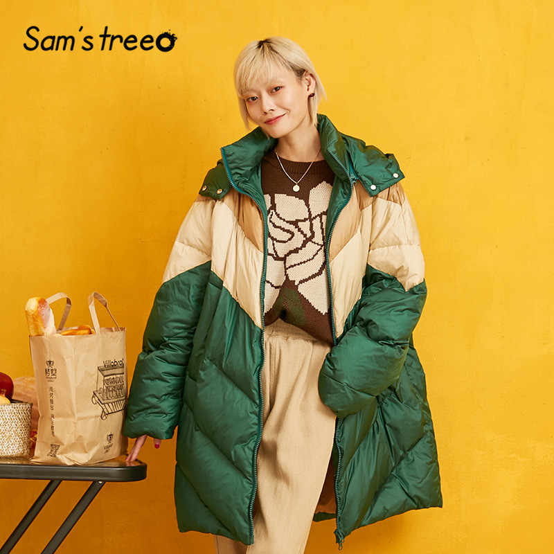 SAM'S TREE Green Patchwork Warmness Hooded   Down     Coat   Women 2019 Winter New Fashion Casual Office Ladies Oversize Outwear