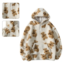 Men Winter Faux Wool Warm Hoodies Cartoon Bear Print Half Zip Sweatshirt Harajuku Fuzzy Loose Pullover Tunic Top Pocket