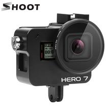 SHOOT funda protectora de aleación de aluminio CNC para GoPro Hero 7 6 5, jaula negra con lente UV de 52mm, accesorios para Go Pro Hero 7 6