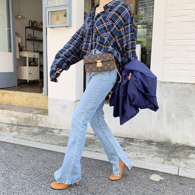 2020 Spring Fashion Women's High Waist Denim Jeans Straight Jeans Side Split Jeans Retro Female Long Capri Pants
