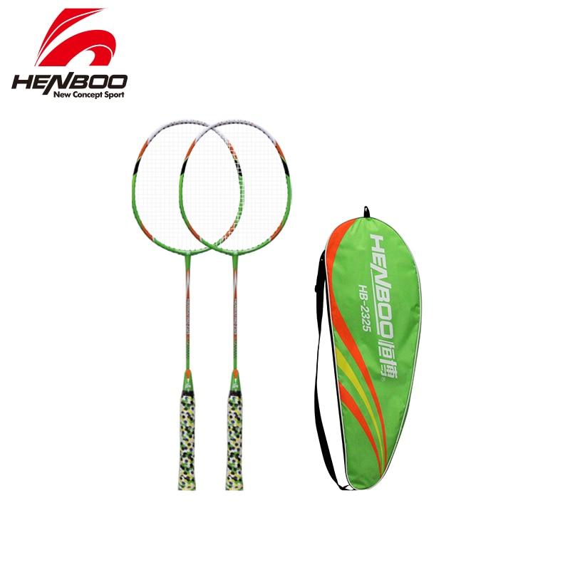 HENBOO Iron Alloy Professional Badminton Racket Set Family Double Badminton Racket Lightest Durable Standard Use Badminton 2325