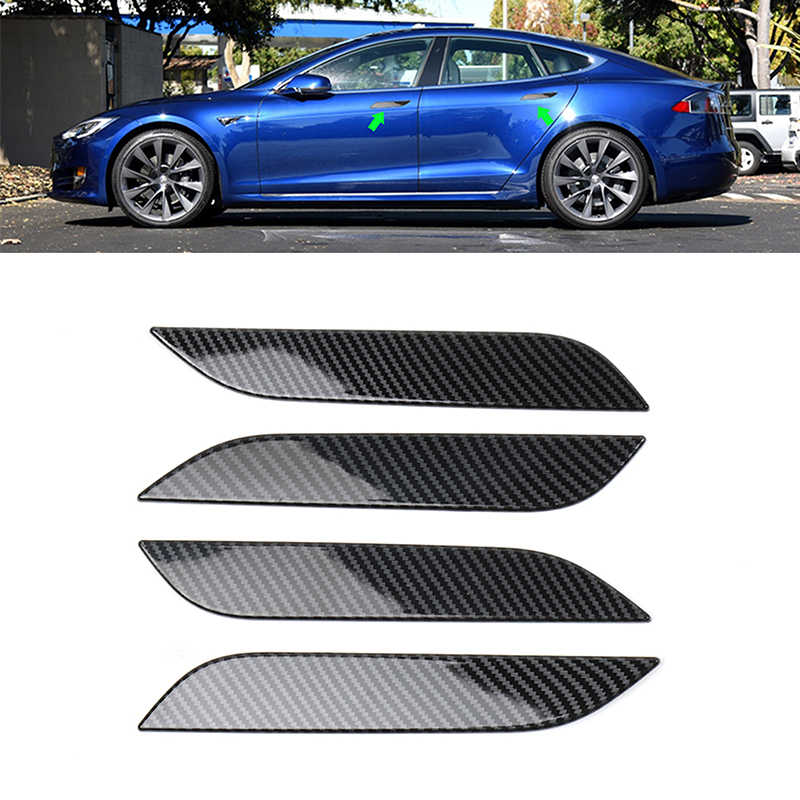 4PCS Real Carbon Fiber Outer Door Handle Cover Trim For Tesla Model S 2014-2019