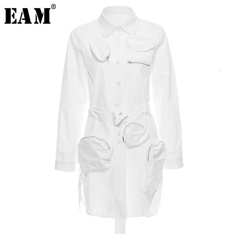 [EAM] Women Pockets Split Asymmetrical Shirt Dress New Lapel Long Sleeve Loose Fit Fashion Tide Spring Autumn 2020 1D6340