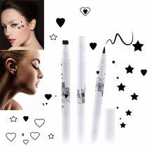 1 PCS with 2 Sides Trendy Black Waterproof Liquid Eyeliner Pencil maquillaje Star Heart Shape Dot Stamp Tattoo