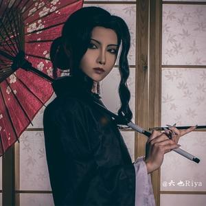 Image 5 - Demon Slayer Kimetsu Không Yaiba Kibutsuji Muzan Cosplay Bộ Tóc Giả Trang Phục Nữ Đen Tóc Xoăn + Tặng Bộ Tóc Giả Bộ Đội