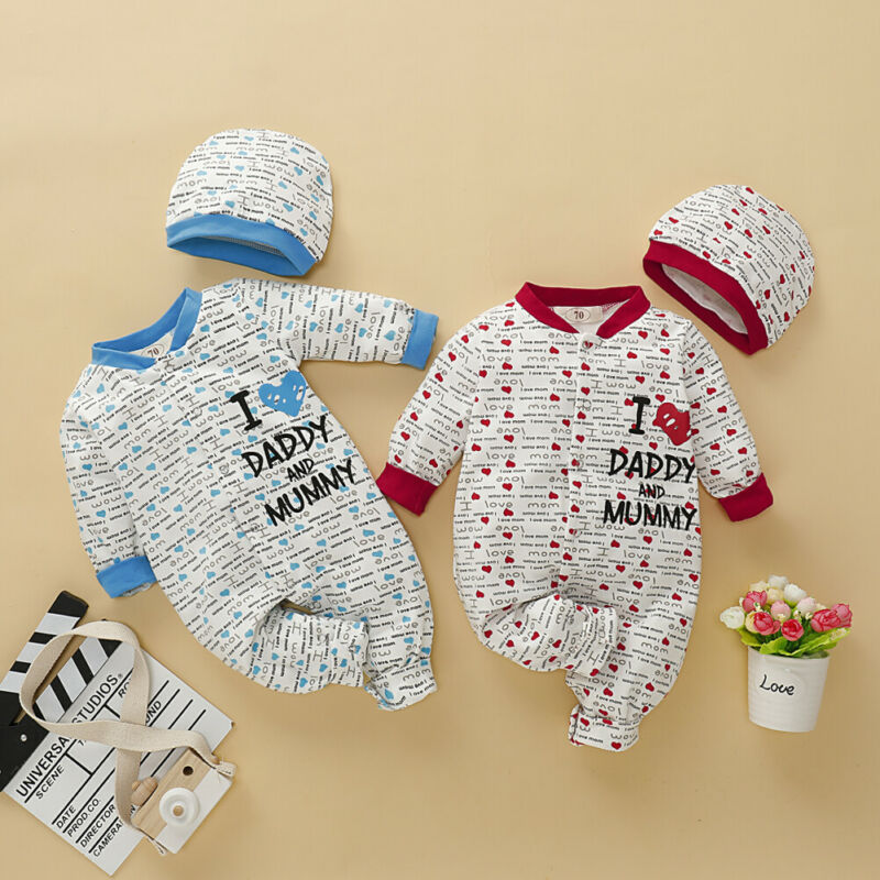 Newborn Baby Boy Girl 0-18M Winter Clothes Long Sleeve Romper Jumpsuit+Hat Outfit Set