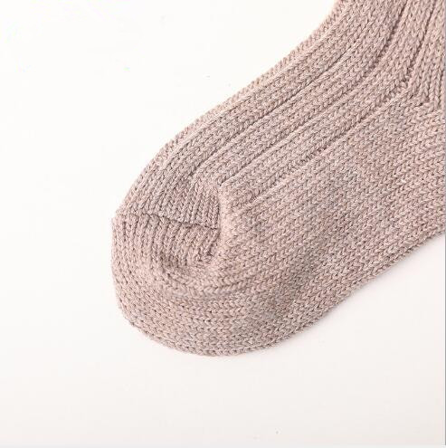 Winter new children's socks thick line knitting tube socks female baby warm cotton socks fashion velvet bow piled socks 5