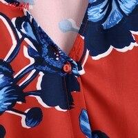 Tangada 2021 Autumn Fashion Women Red Flowers Print Elegant Midi Dress Long Sleeve Office Ladies Dress BE375 3