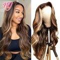 NY Remy 13X4 фронтальный парик 4X4 парик на шнуровке прозрачный хайлайтер медовый светлый человеческий парик волнистые волосы для черных женщин