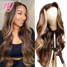 Ny cabelo remy 13x4 peruca frontal 4x4 fechamento peruca rendas destaque transparente mel loira cabelo humano peruca onda do corpo para preto