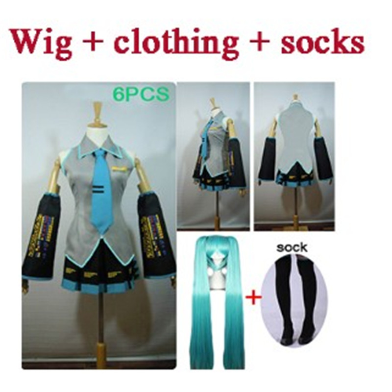 Cosplay 6 pieces high quality Hatsune Miku love is wall Vocaloid Miku Costume have wig halloween Female party clothing