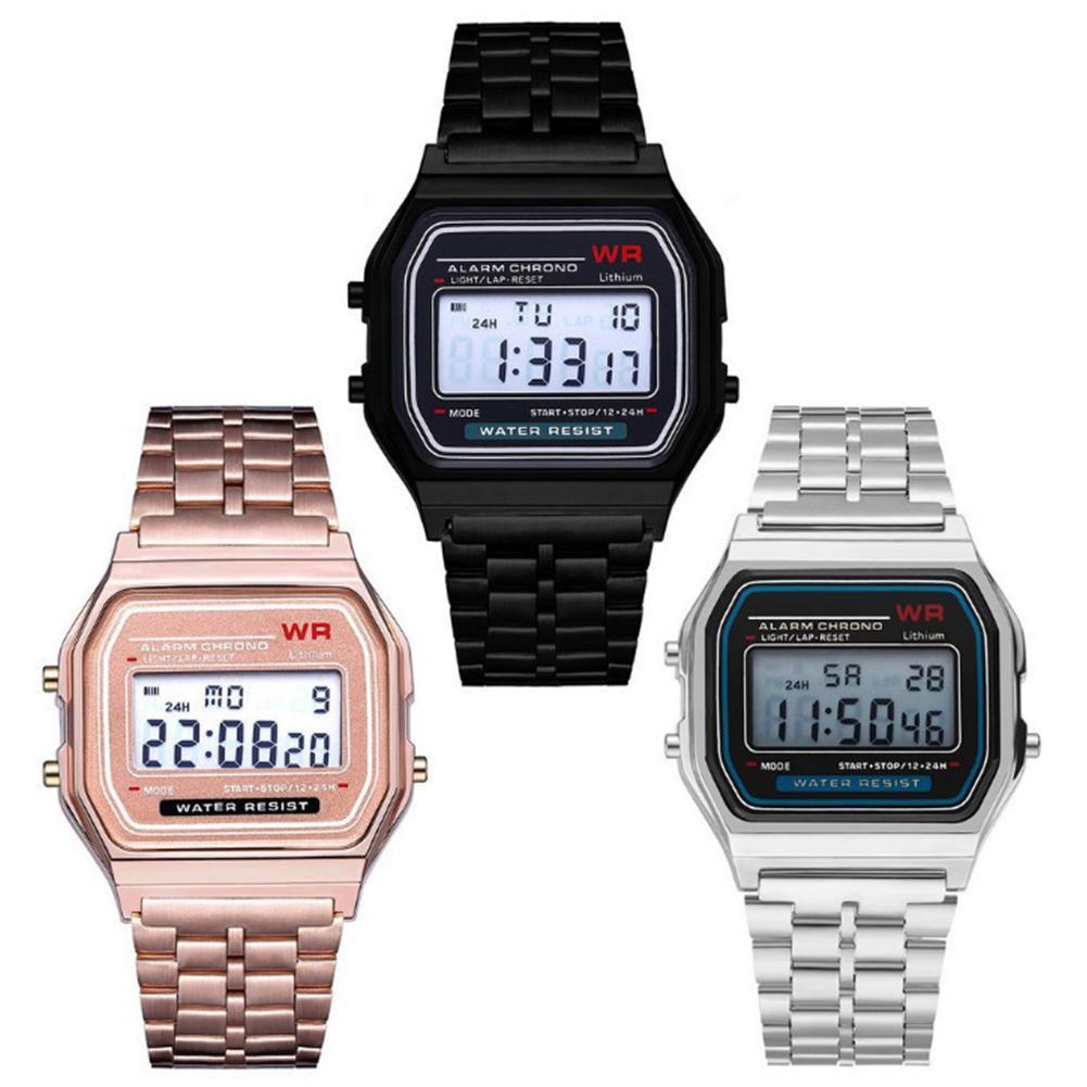 HobbyLane LED Wrist Watch Steel Strap Digital Quartz Wrist Watch For Man Woman